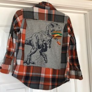Dinosaur Baby Gap Upcycled flannel shirt 4 years